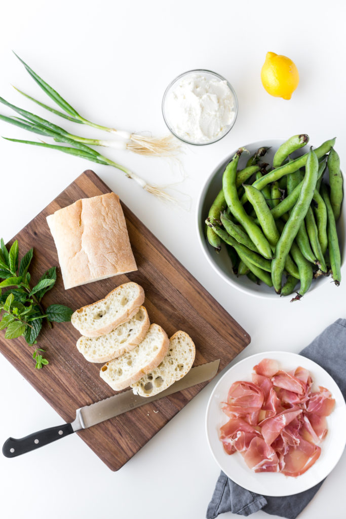 fava bean toast with ricotta and crispy prosciutto