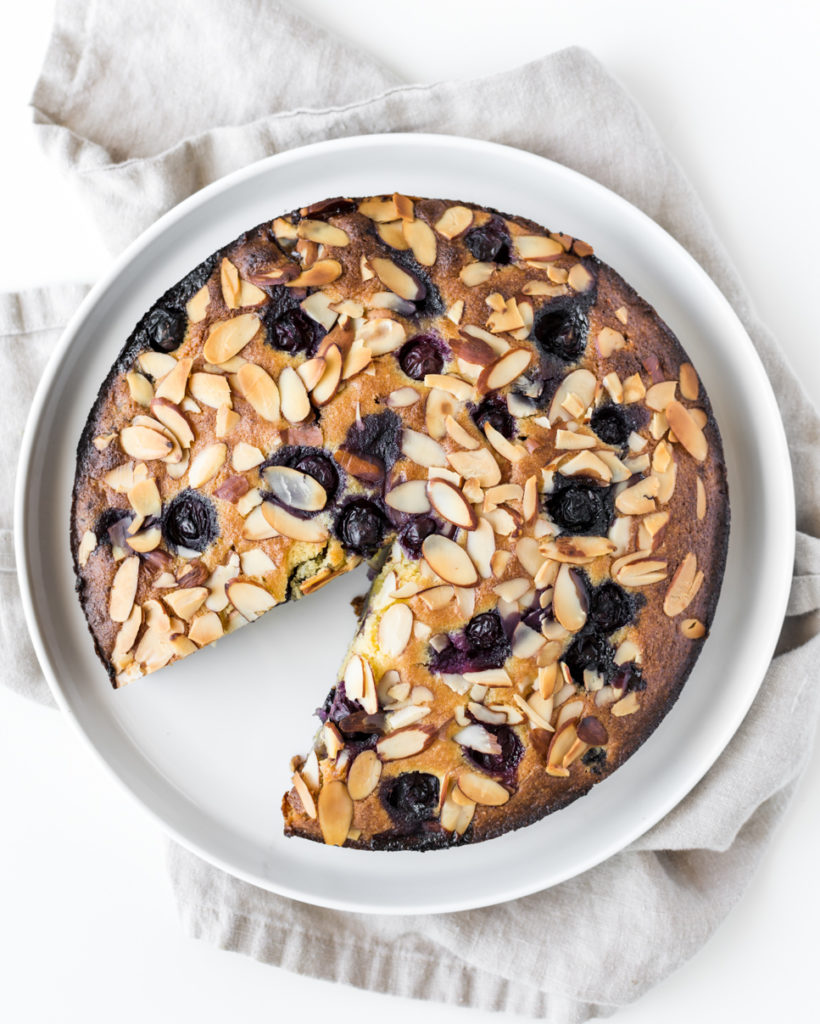 simple coconut almond blueberry cake