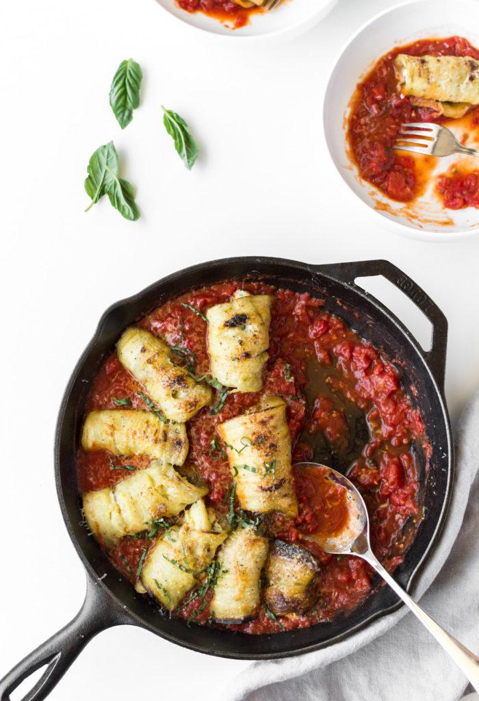 simple eggplant ricotta tomato dish