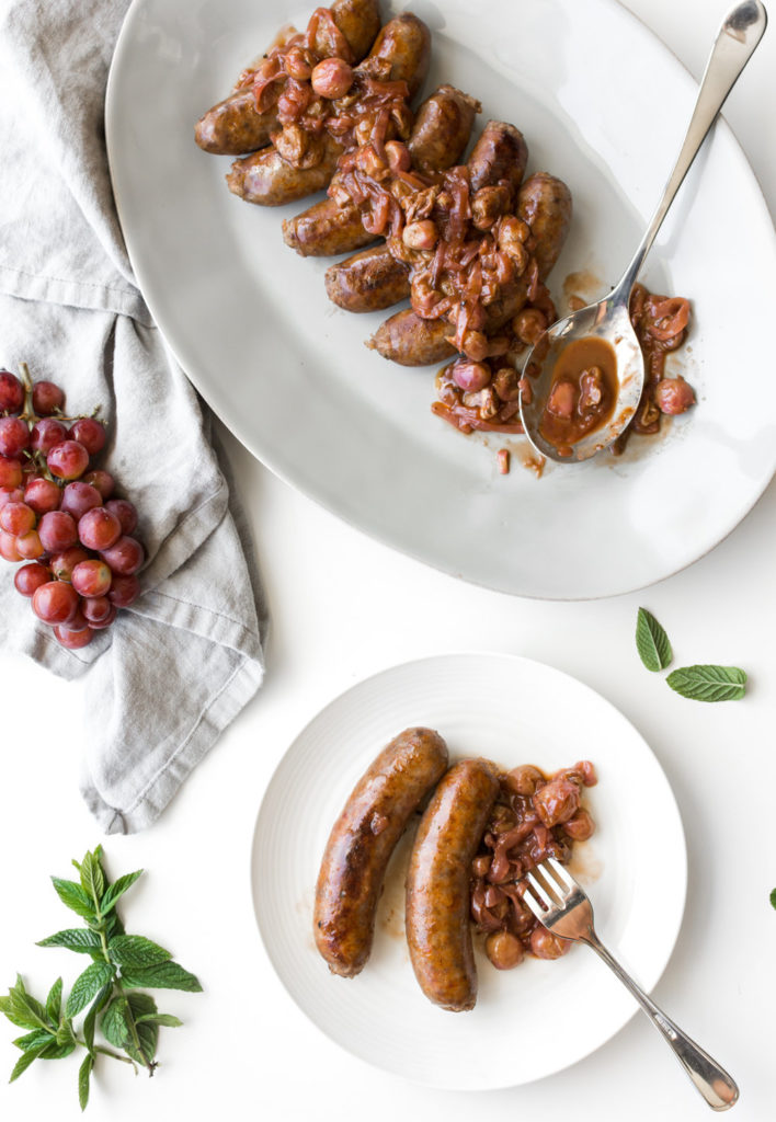 italian sausage with grapes and balsamic vinegar-- withspice food blog