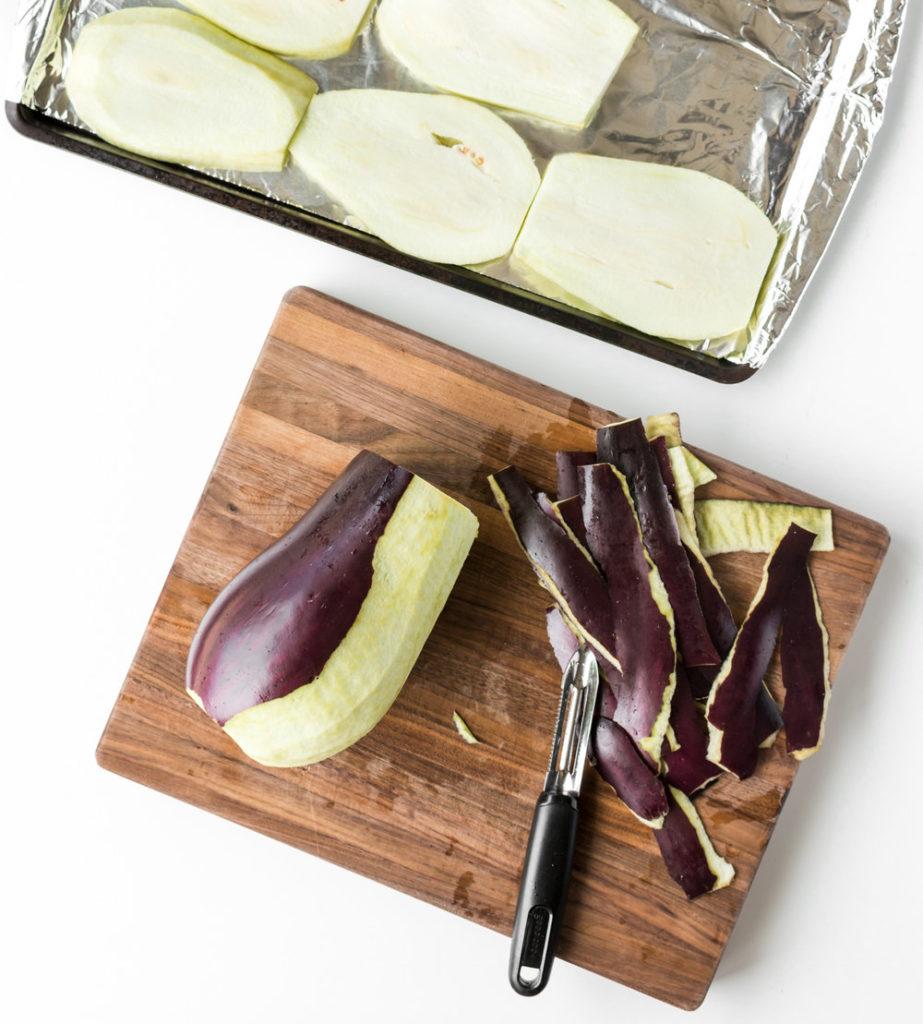 peeling summer eggplant