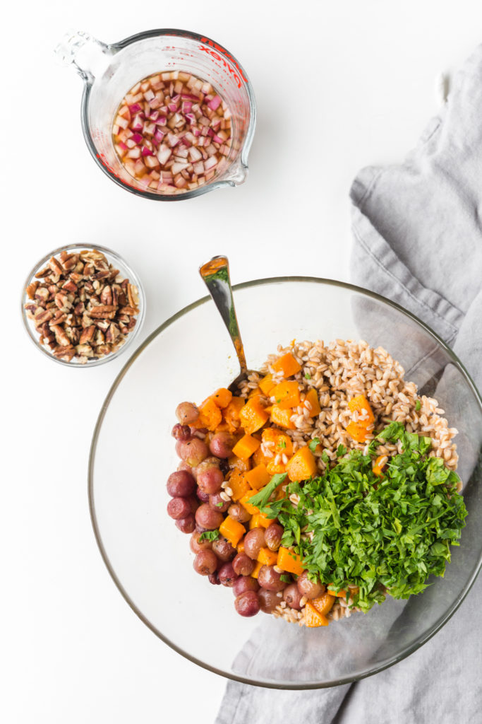 fall grain salad with farro, roasted grapes, pecans and pickled shallots