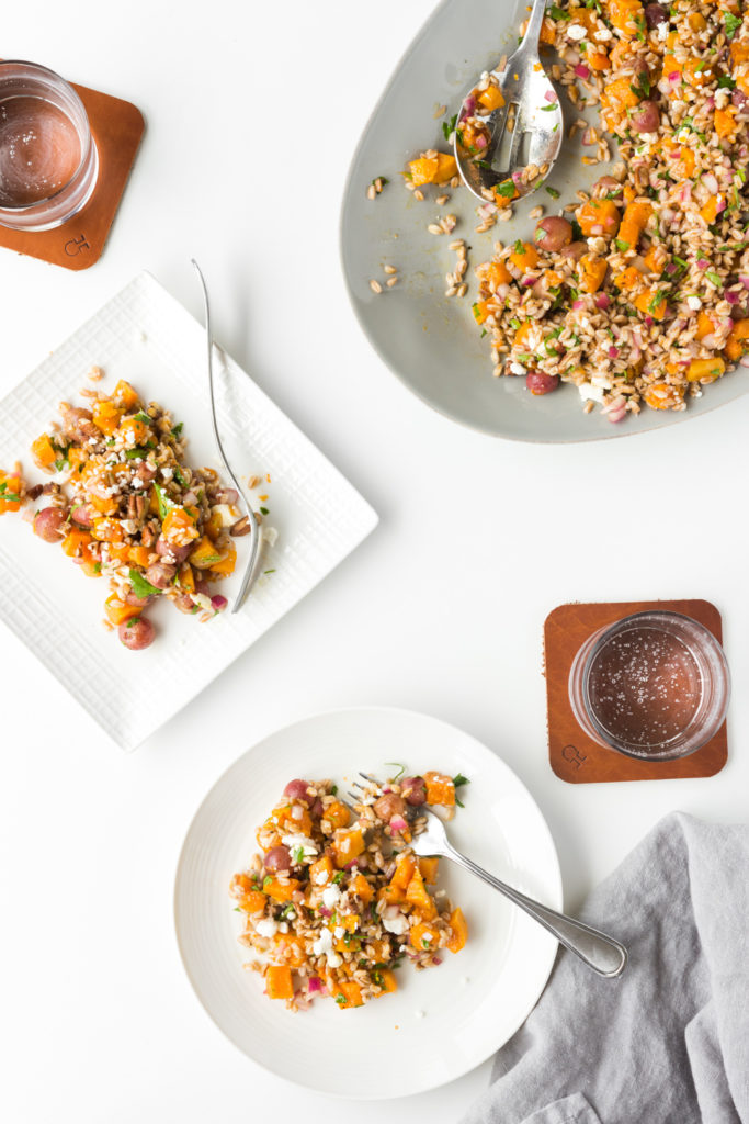 butternut squash salad with farro and roasted grapes-- withspice seasonal food blog