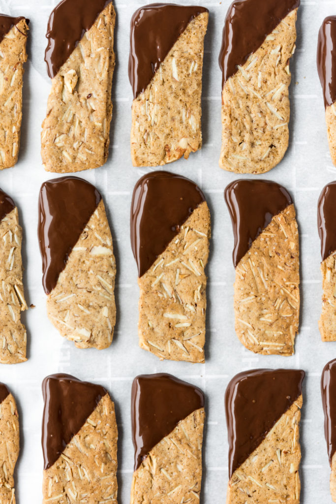 dark chocolate dipped crunchy almond cookies-- withspice seasonal food blog