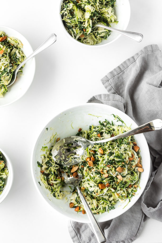 kale and brussels sprouts salad with pecorino and almonds-- withspice seasonal food blog