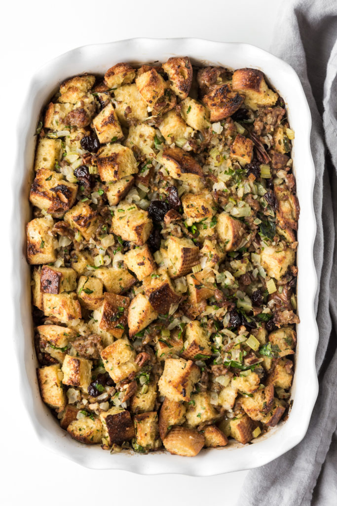 sourdough stuffing with tart cherries and sausage