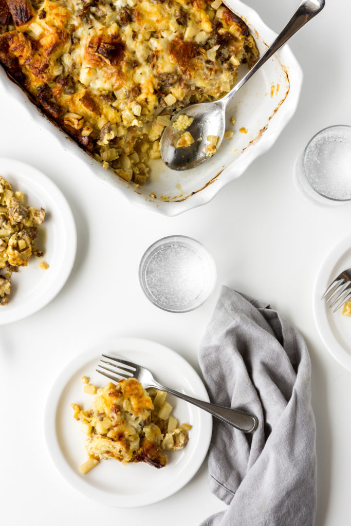 breakfast casserole with brioche, apples, fennel and sausage