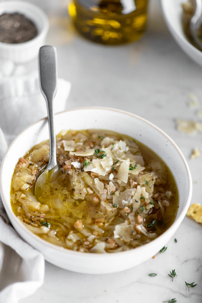 cabbage farro soup with fresh parmesan