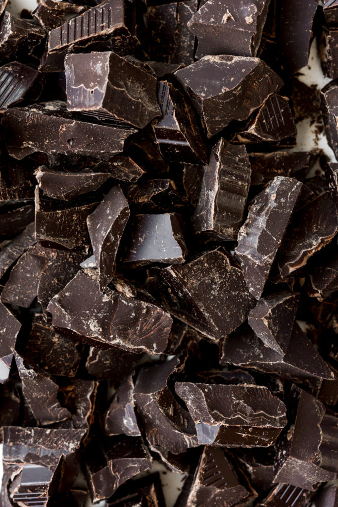 dark chocolate chunks for salted double chocolate cookies