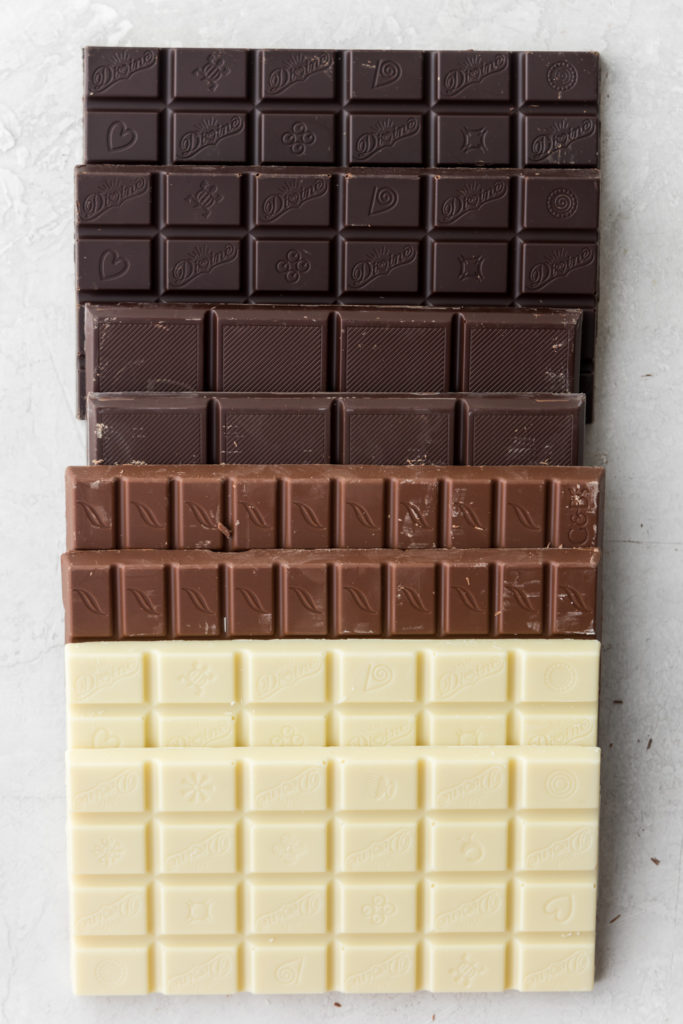 how to make a chocolate board-- white, milk, dark and extra dark chocolate