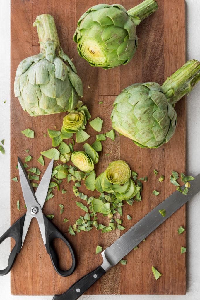 how to trim artichoke leaves