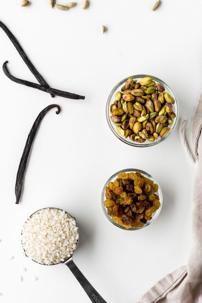 vanilla bean, cardamom, golden raisins, salted pistachios