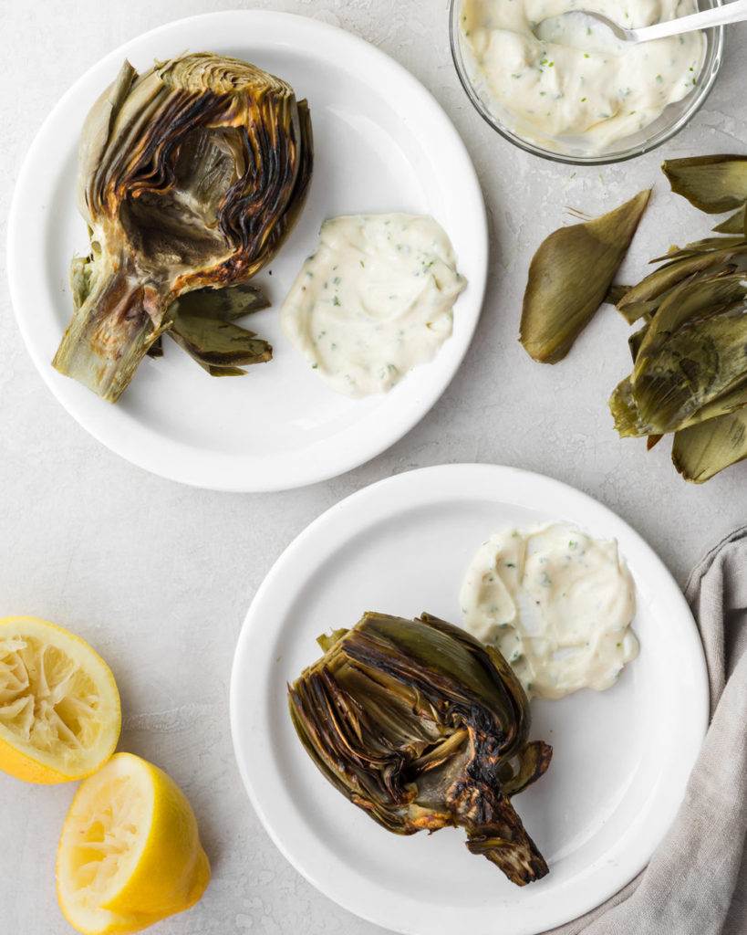 roasted artichokes with creamy chive sauce