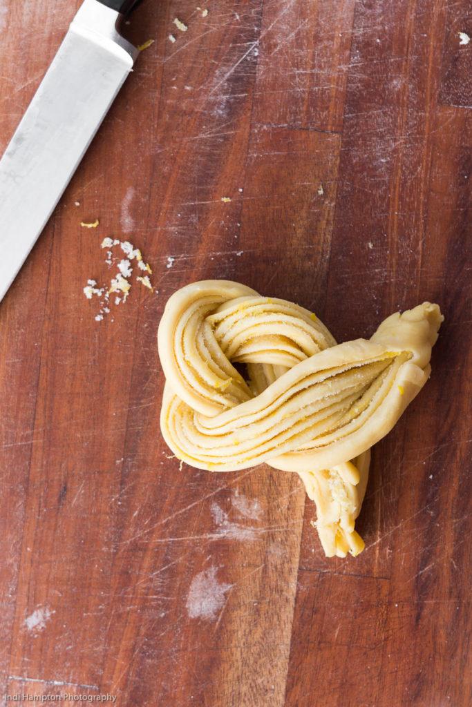 how to shape braided lemon dough