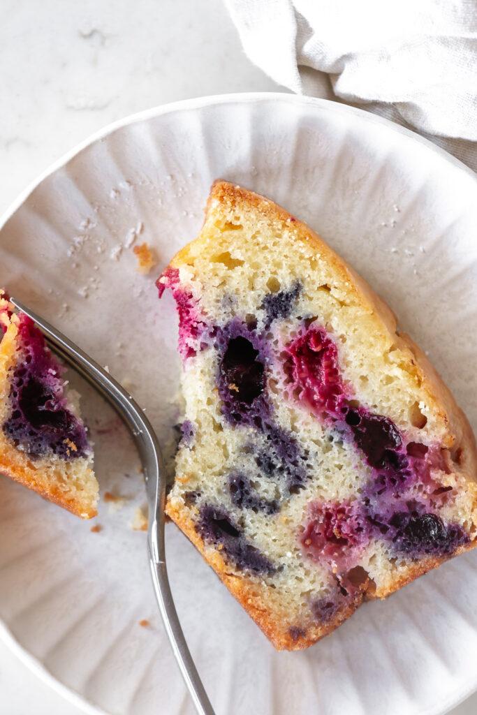 how to make a triple berry creme fraiche cake