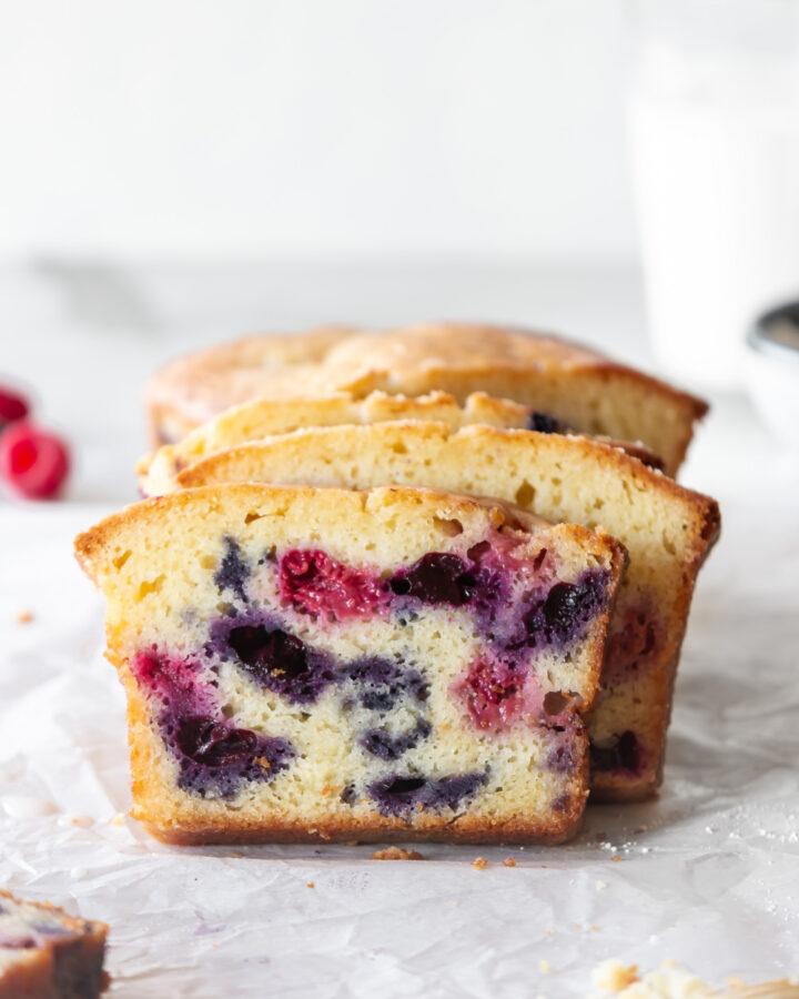 triple berry creme fraiche cake