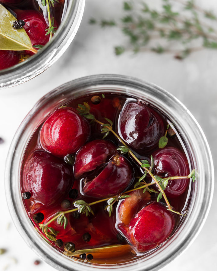 quick pickled cherries with black pepper and thyme