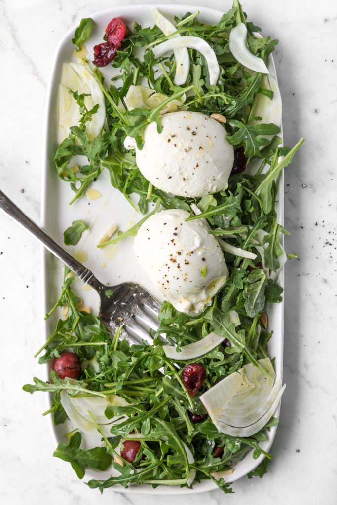 arugula salad, fennel, burrata, almonds, pickled cherries