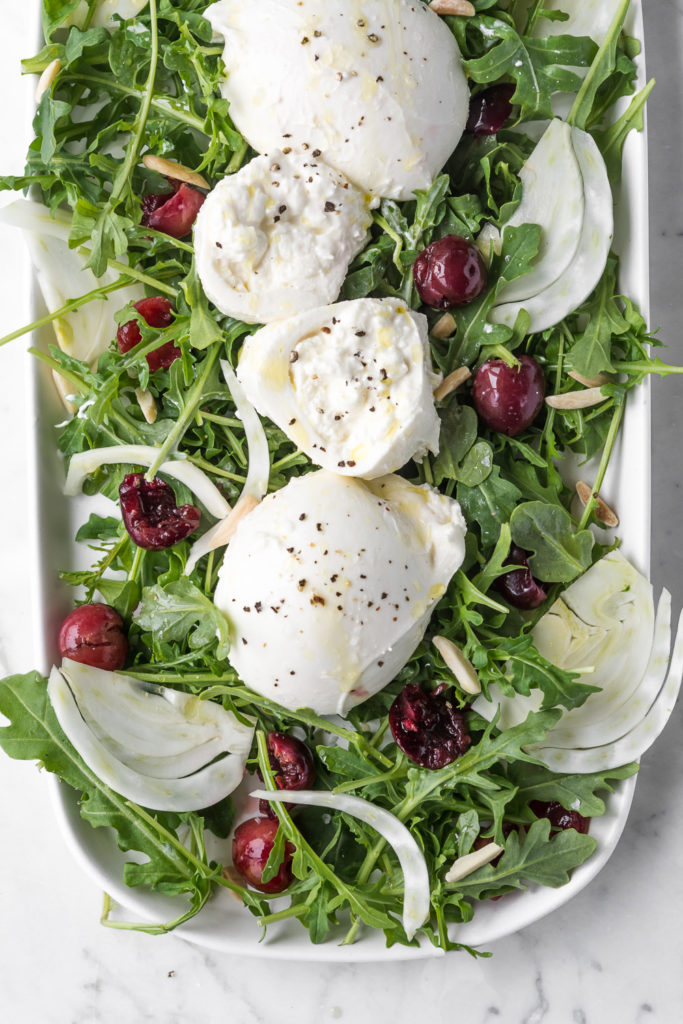 arugula fennel salad with burrata and pickled cherries -- withspice seasonal food blog