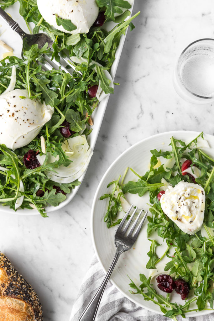 arugula fennel salad with pickled cherries and burrata-- withspice seasonal food blog