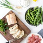 fava bean crostini with ricotta and prosciutto