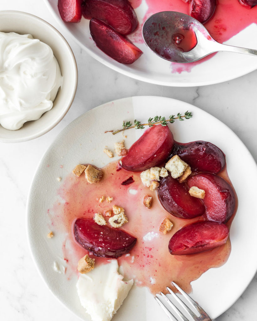 honey poached plums with mascarpone and almond biscotti