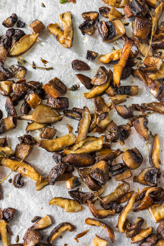 roasted wild mushrooms with thyme for goat cheese tart recipe