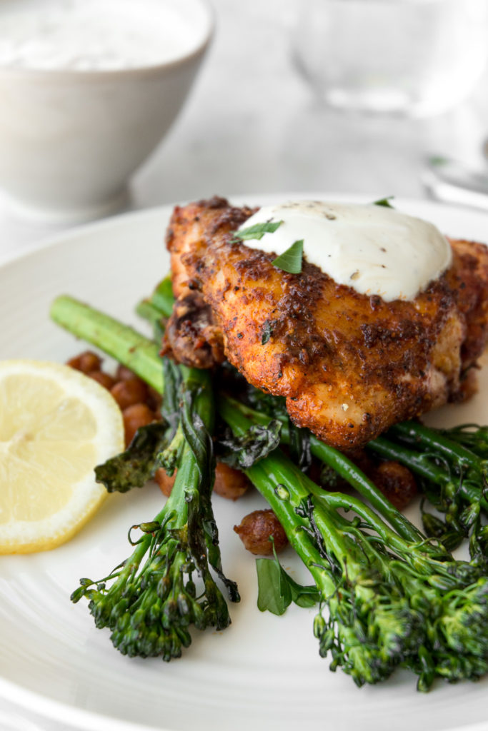 sheet pan chicken with harissa, broccolini and chickpeas-- withspice food blog