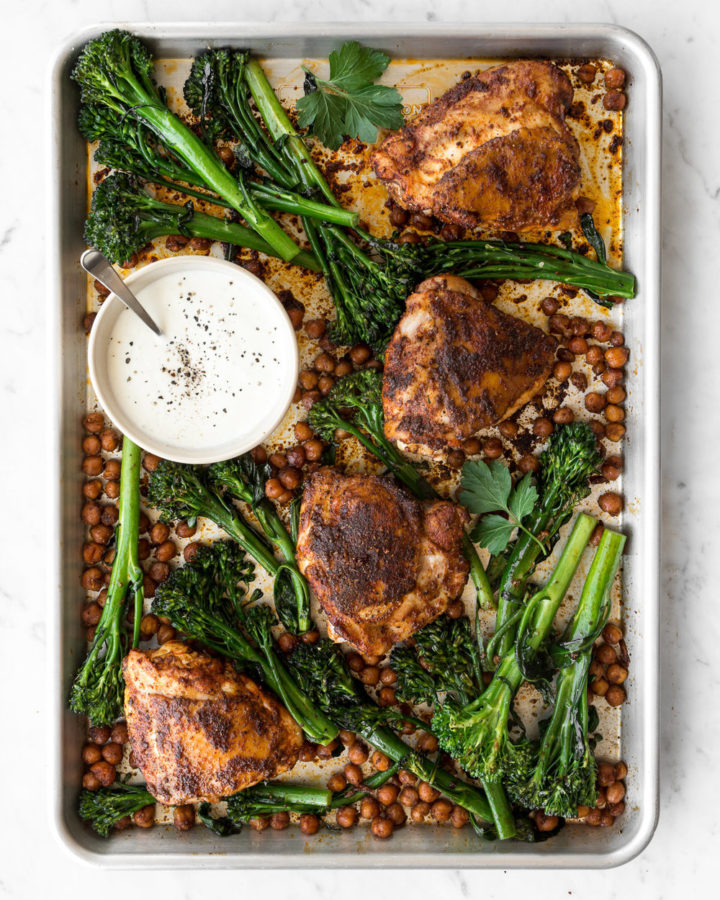sheet pan chicken with harissa, broccolini and chickpeas