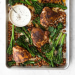 roasted harissa chicken thighs with broccolini and chickpeas-- withspice food blog