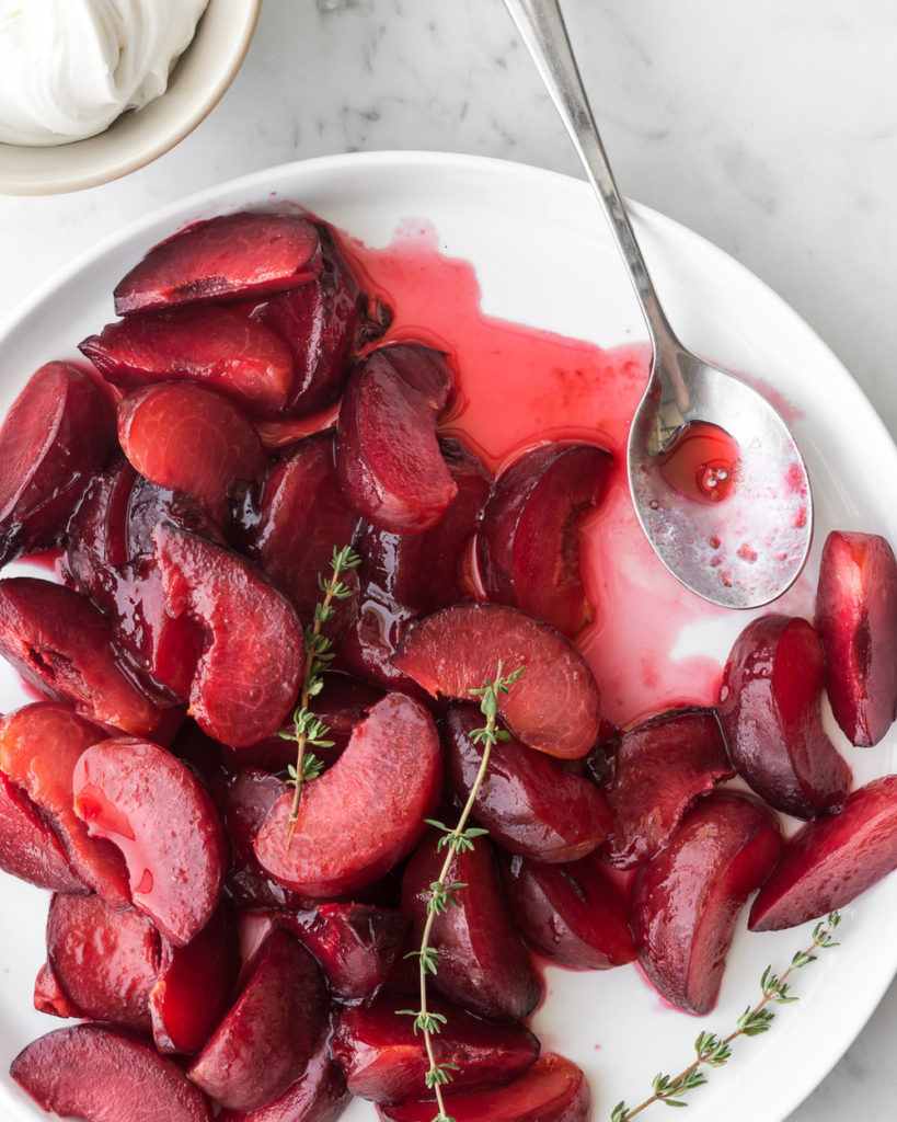 honey thyme poached plums with sweet mascarpone and biscotti