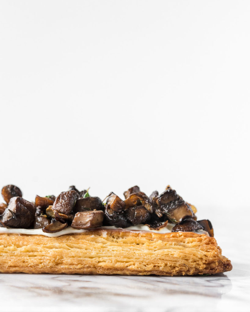 mixed mushroom tart with flaky creme fraiche pastry