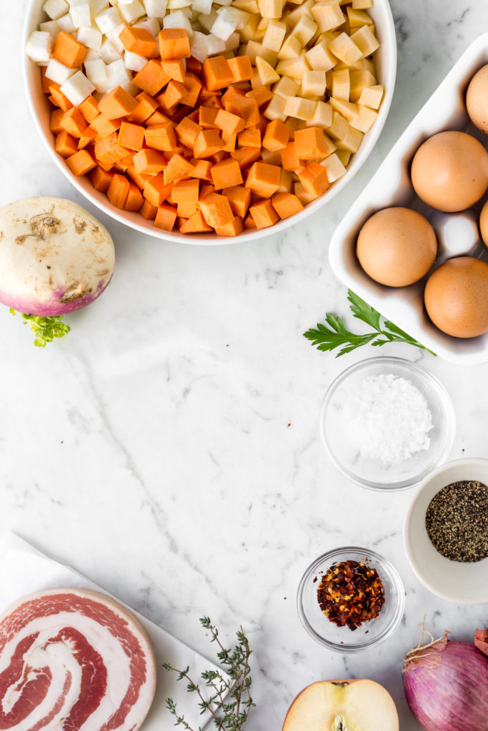 how to make breakfast hash with poached eggs