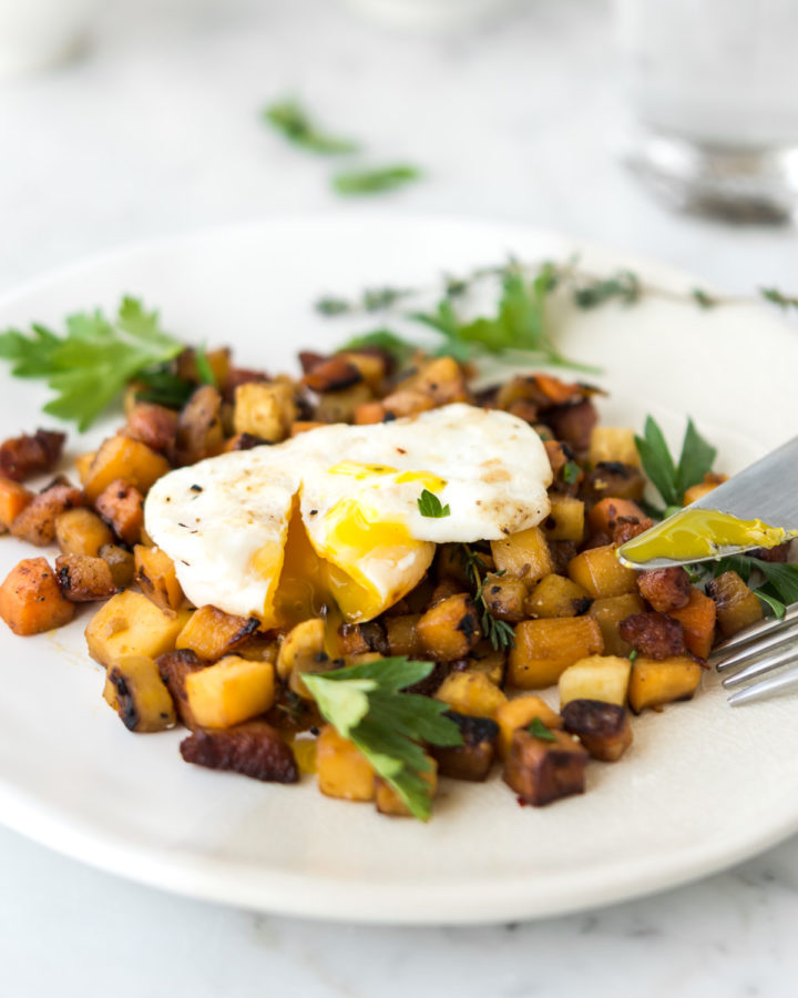 root vegetable hash with pancetta and poached eggs