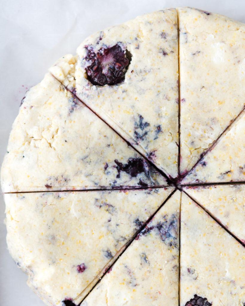 unbaked blackberry scones