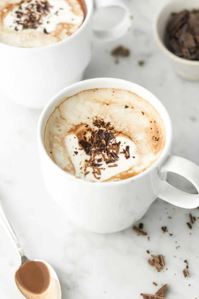 alcoholic hot chocolate with coconut milk and cognac