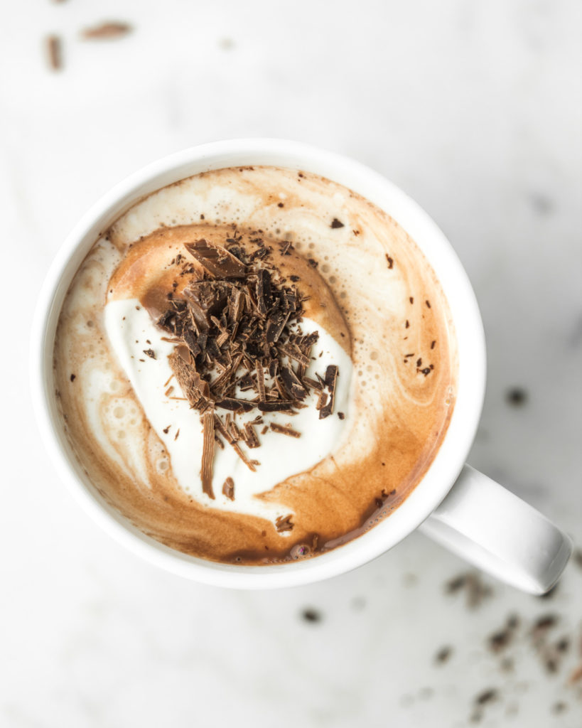 rich hot chocolate recipe with coconut milk and cognac