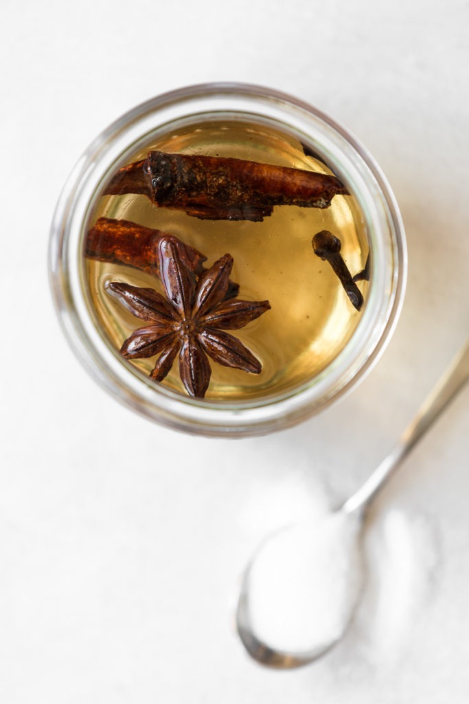 spiced simple syrup with cinnamon, cloves and star anise