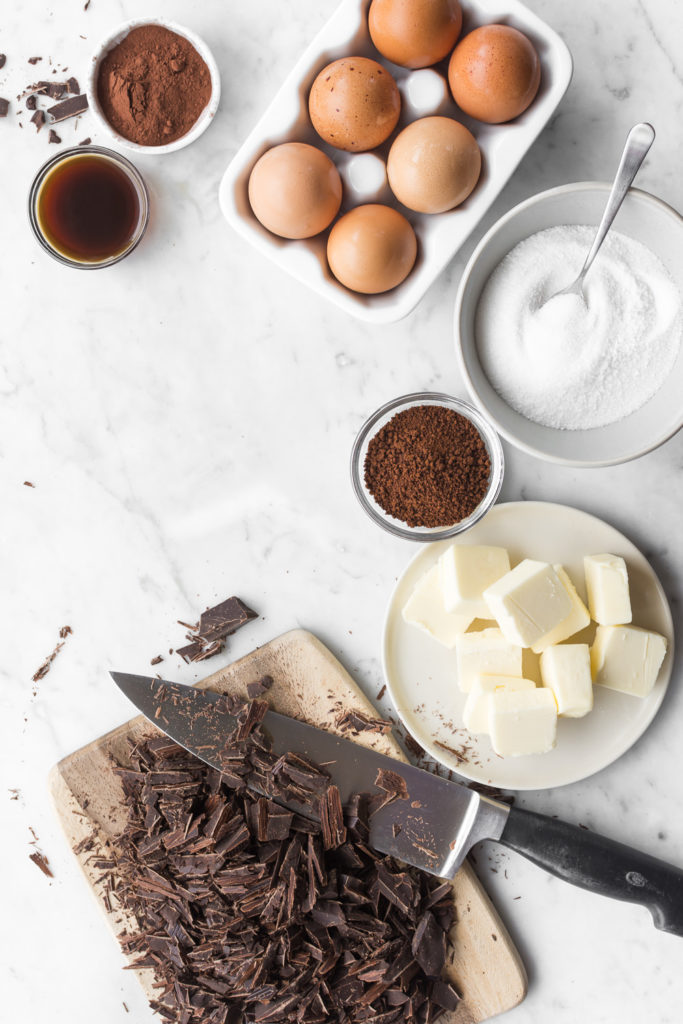 ingredients for fallen chocolate espresso souffle cake