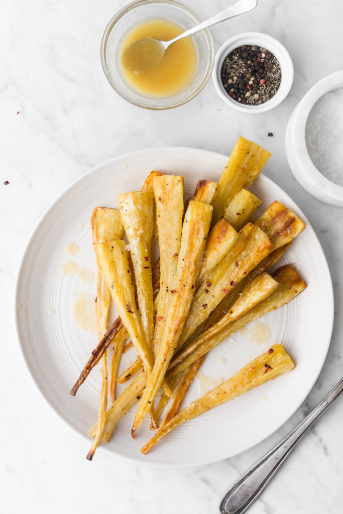 roasted glazed parsnips with maple, butter, ginger recipe