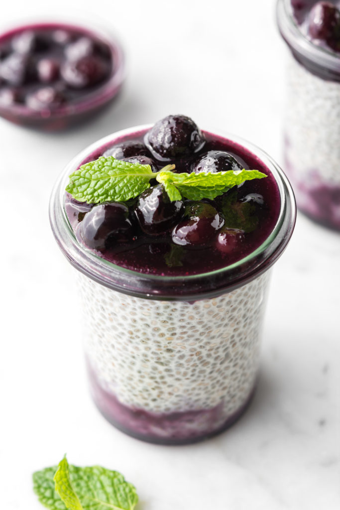 chia seed breakfast pudding with maple butter blueberries