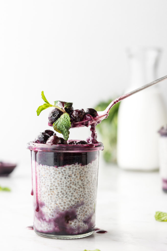 overnight chia seed pudding with maple butter blueberries