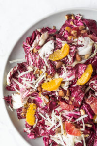 radicchio salad with oranges, pecorino and smoked almonds