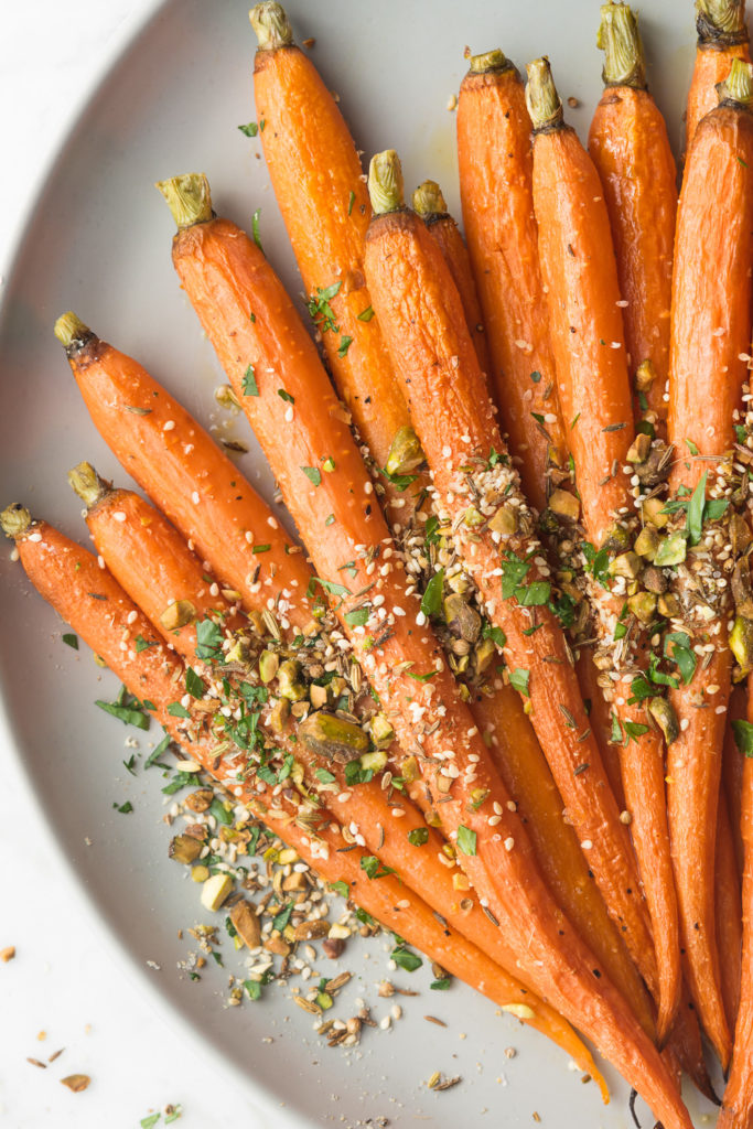 roasted whole carrots with pistachio dukkah