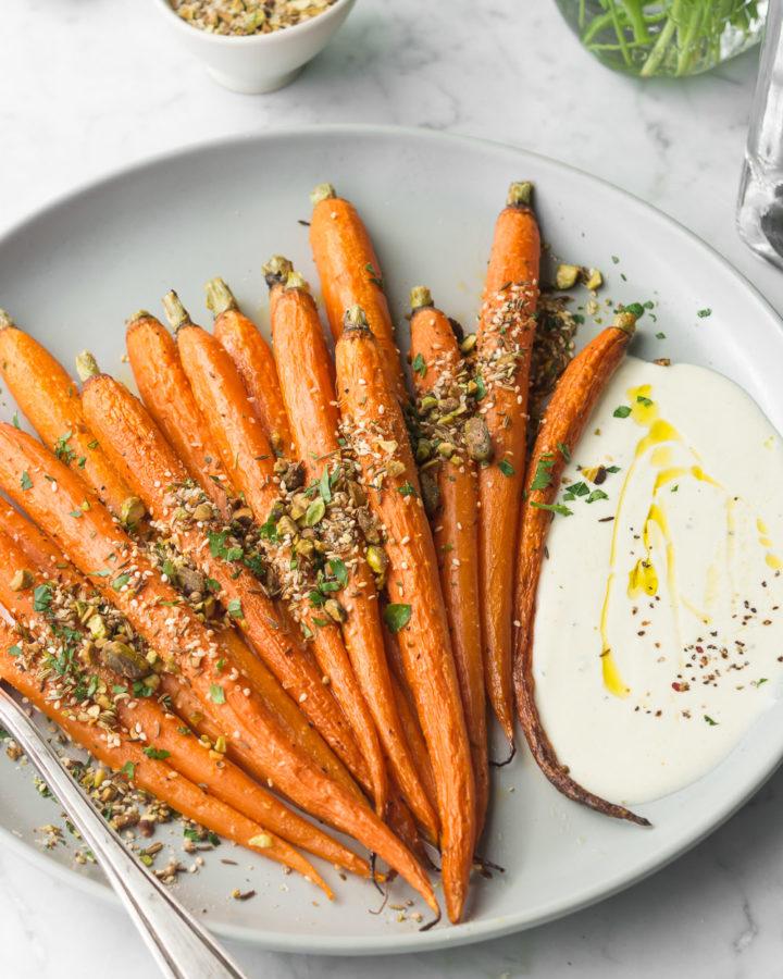 roasted whole carrots with pistachio dukkah recipe