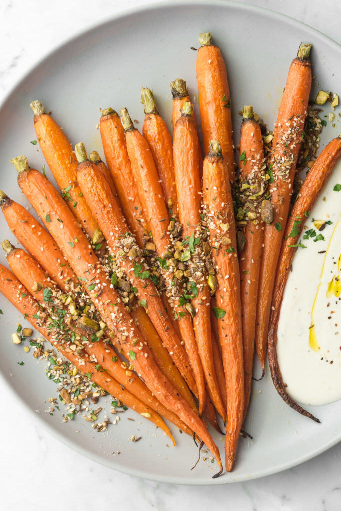 whole roasted carrots with dukkah and tahini yogurt