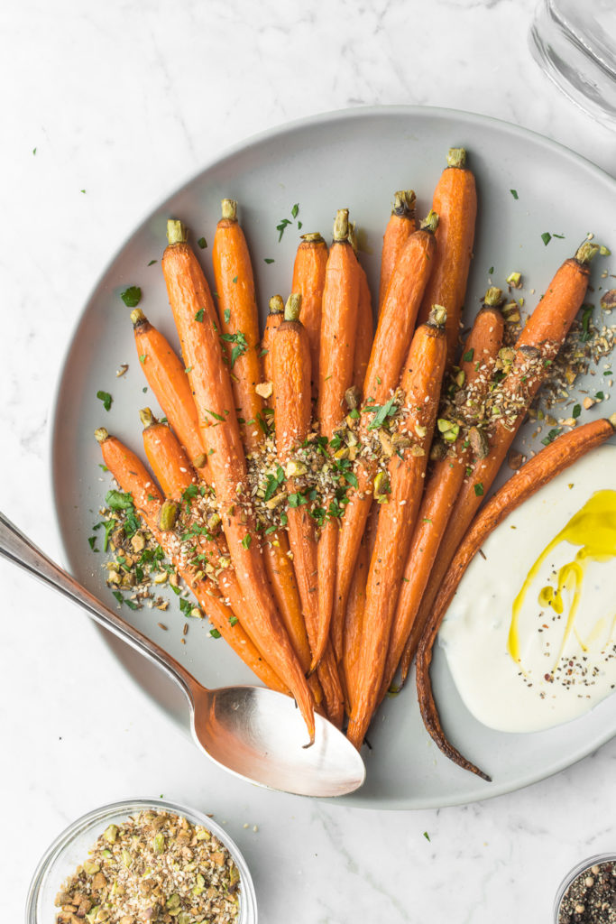 whole roasted carrots with pistachio dukkah
