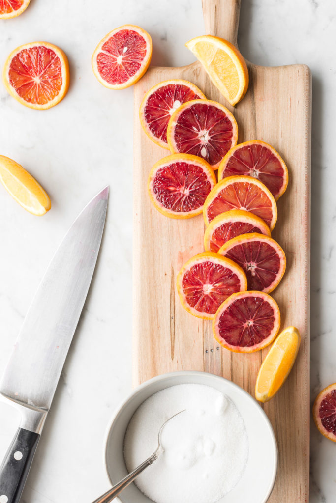 candied blood orange slices