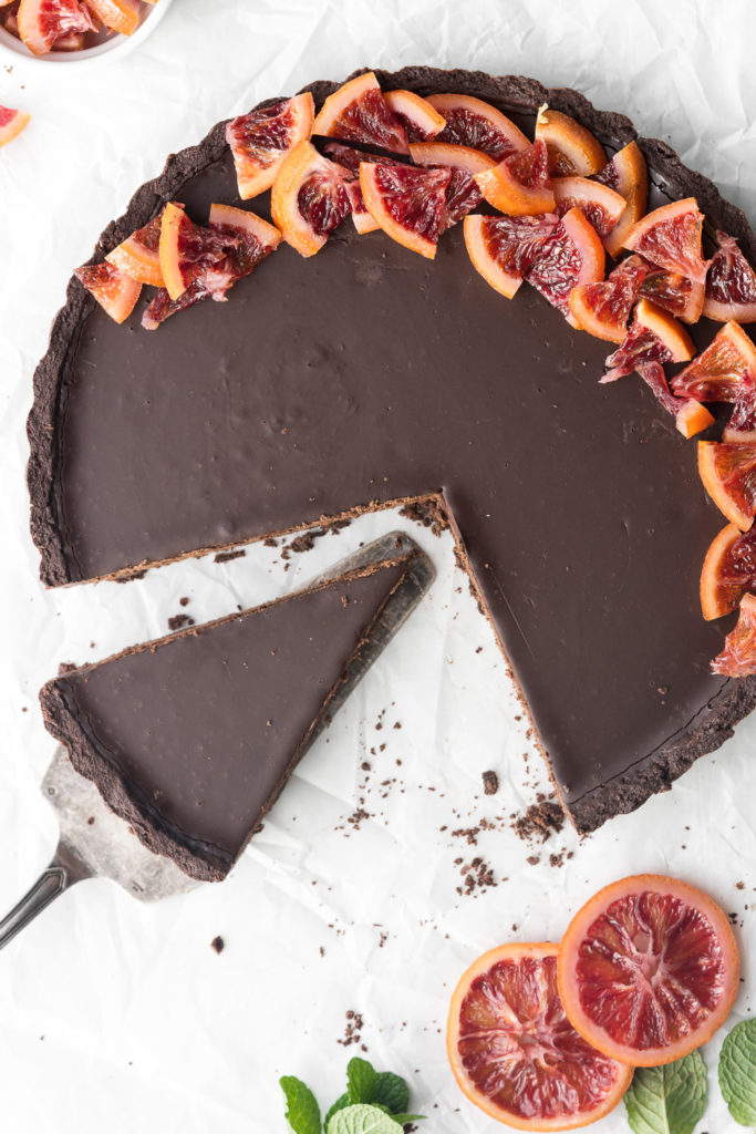 double chocolate tart with candied blood oranges