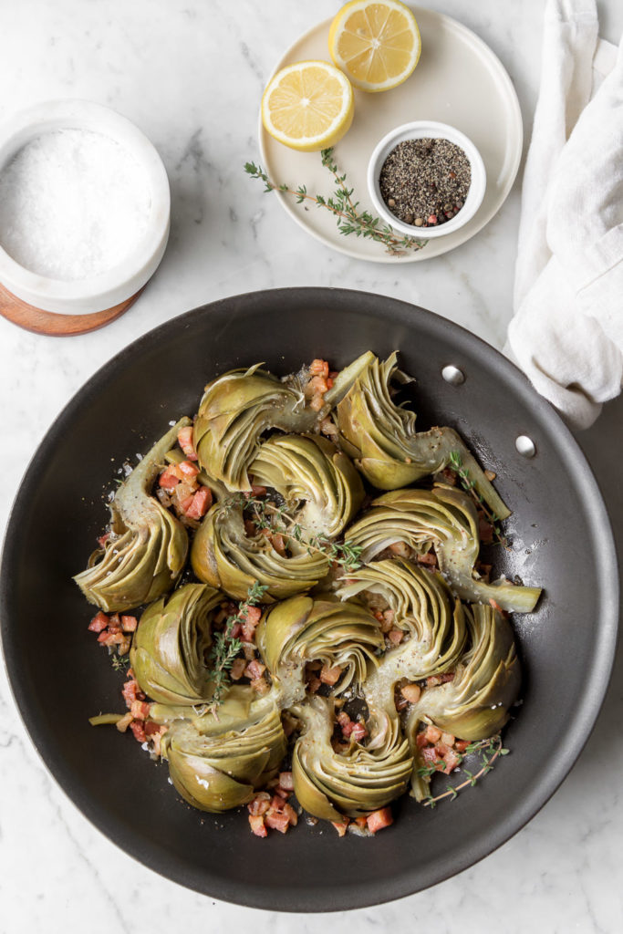 braised artichokes with pancetta
